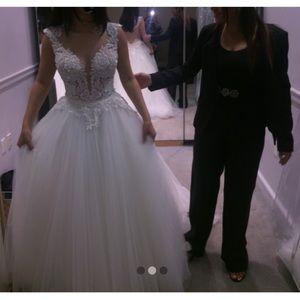 Pnina Tornia Wedding Dress Ball Gown Size 0/2